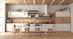 Modern white and wooden kitchen with dining table on hardwood floor - 3d rendering